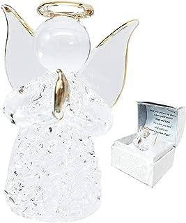 Beautiful Inspirational Handblown Glass Art Prayer Guardian Angel Ornament Figurine Collectible In Window Gift Box For Children Teens Loved Ones Encouragement Present