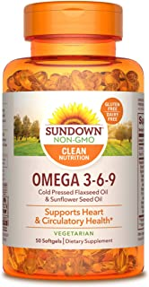 Omega 3-6-9 by Sundown, Vegetarian, Non-GMO, Free of Gluten, Dairy, Artificial Flavors, with Flaxseed Oil and Sunflower Se...