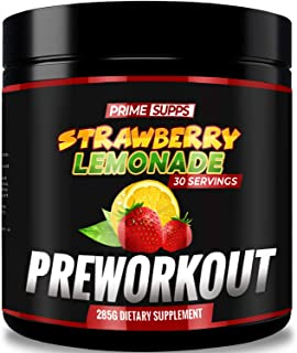 Prime Supps Pre Workout Powder - MetaHuman Preworkout Drink for Men and Women - 30 Servings - Strawberry Lemonade