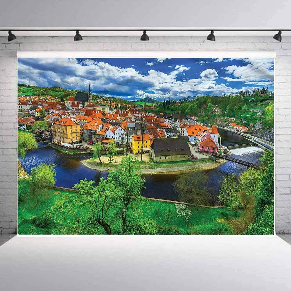 8x8FT Vinyl Photography Backdrop,Wanderlust,View of Cesky Krumlov Background for Selfie Birthday Party Pictures Photo Booth Shoot