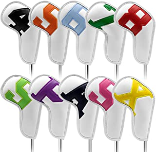 barudan golf Iron Club Head Covers Set Headcovers for Callaway Ping S5 - Big Colorful Number - Long Neck - Black Pu Leathe...