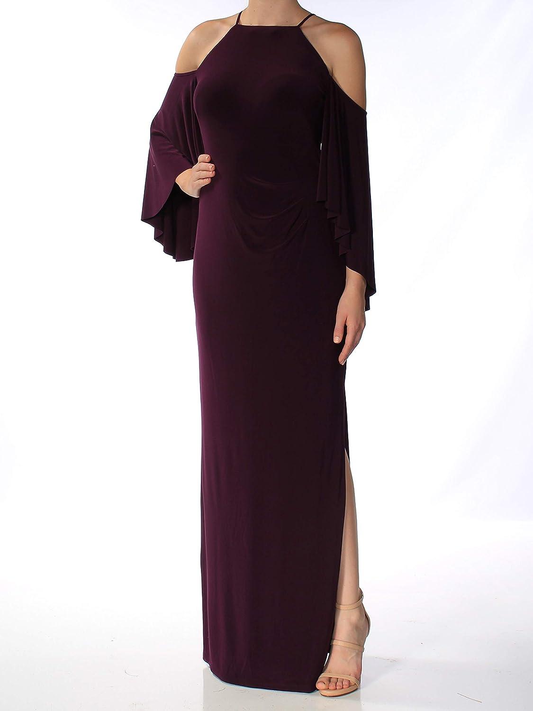 Lauren Ralph Lauren Womens Cold Shoulder Halter Evening Dress Purple 8