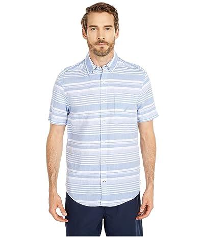 Nautica Classic Fit Linen Stripe Shirt (Blue) Men