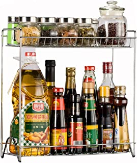 Étagère de cuisine Vicoki en acier inoxydable - Deux niveaux, bacs amovibles, pour épices, canettes, ...