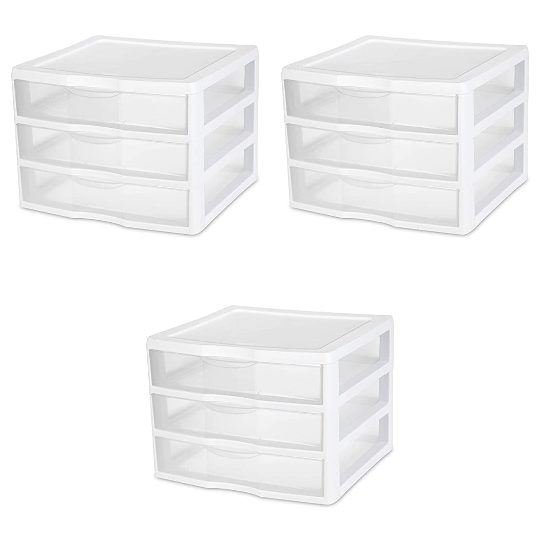 Sterilite 20938003 Wide 3 Drawer Unit, White Frame with Clear Drawers, 3-Pack