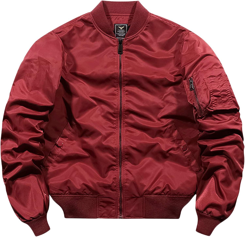 Huangse Men's Lightweight Multi Pockets Bomber Jacket Zip Front Stand Collar Military Jackets Windbreaker Jacket