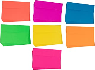 Neon A4 Envelopes - 112-Count Invitation Envelopes, 4 x 6 Gummed Seal Square-Flap Invite Envelope for Wedding, Birthday, Baby Shower, Greeting Card, 120gsm, 7 Assorted Colors, 4.25 x 6.25 Inches