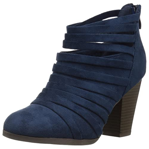 57314bc8a83 Womens Chunky Heel Strappy Faux Suede Ankle Bootie