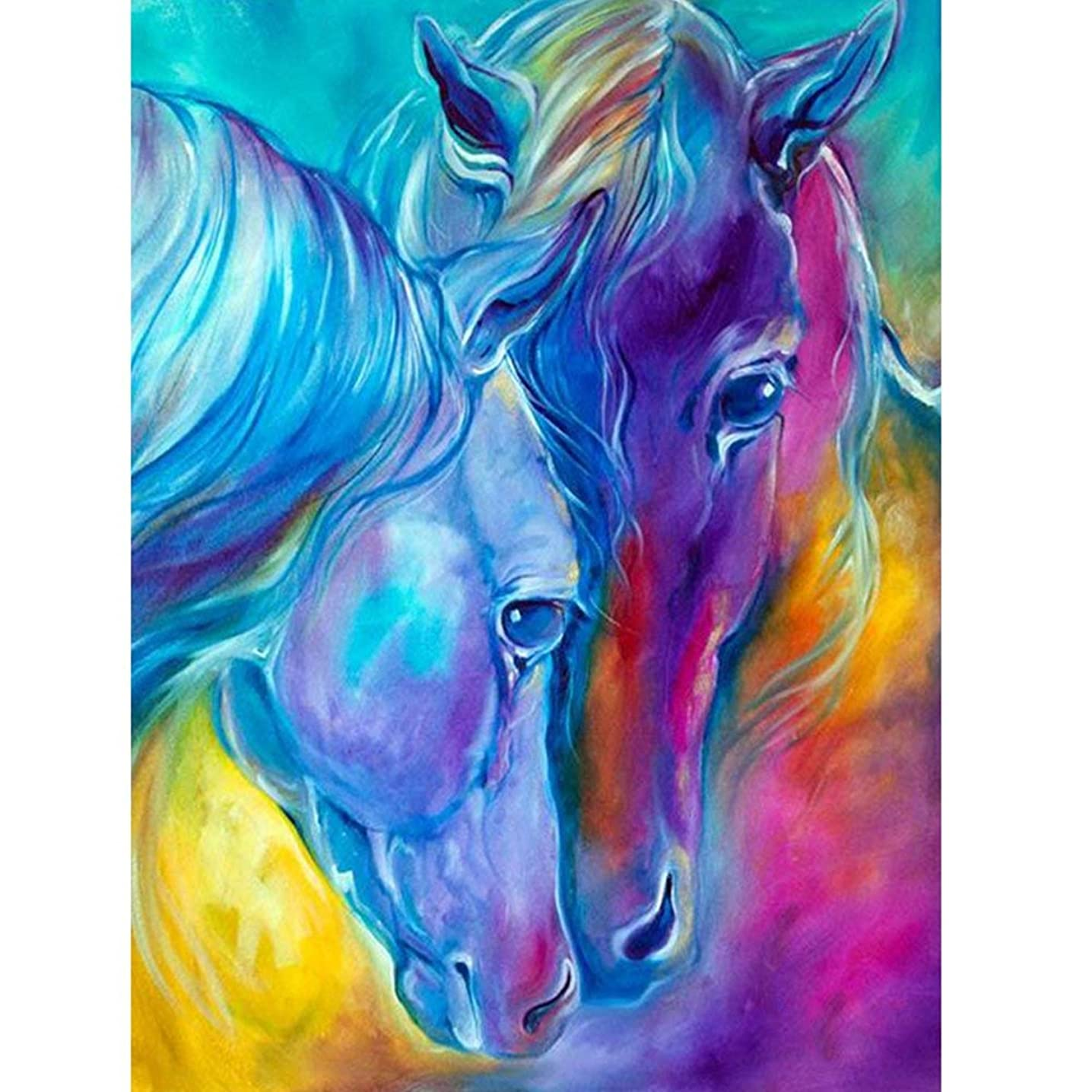 DIY 5D Diamond Painting by Number Kits, Two Colored Horses Full Drill Rhinestone Embroidery Cross Stitch Pictures Arts Craft for Home Wall Decor 11.8 x 15.8 inch