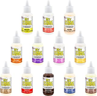 My Slime 12 Pack of Premium Concentrated Slime Scents, Large 20 ml Bottles - Non-Toxic, Water-Based Scented, Works in White & Clear Slime Glues - Strawberry, Lemon, Grape, Cotton Candy, Orange, Cherry
