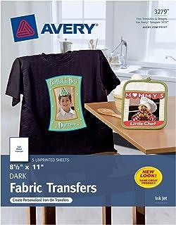 Avery Printable Heat Transfer Paper, for use on Dark Fabrics, 8.5 x 11,