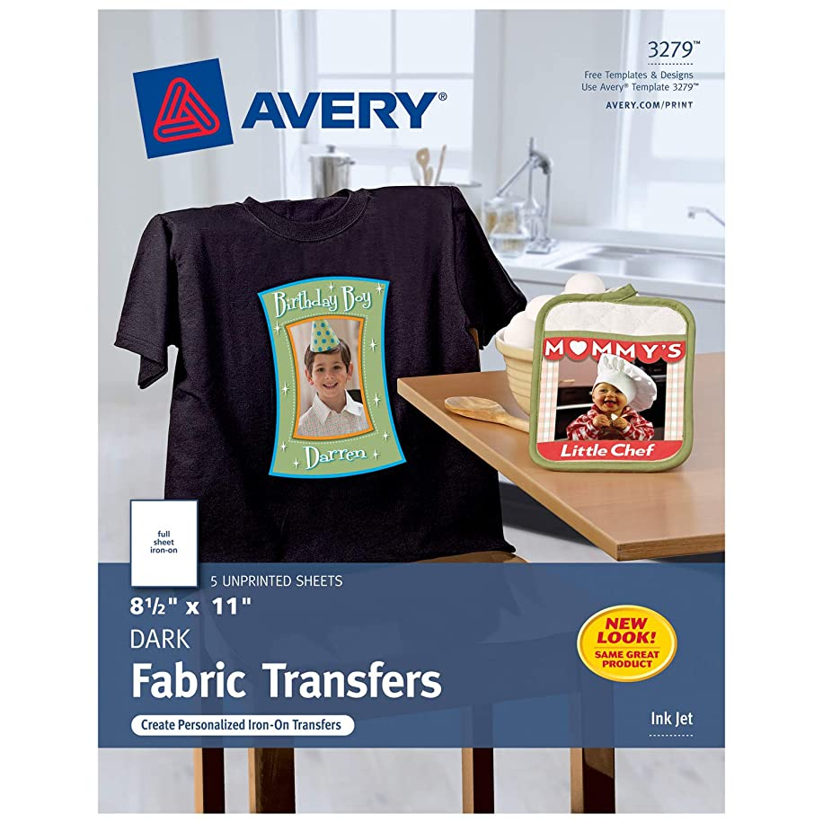 Avery Printable Heat Transfer Paper, for use on Dark Fabrics, 8.5 x 11, Inkjet Printers, 5  transfers (3279)