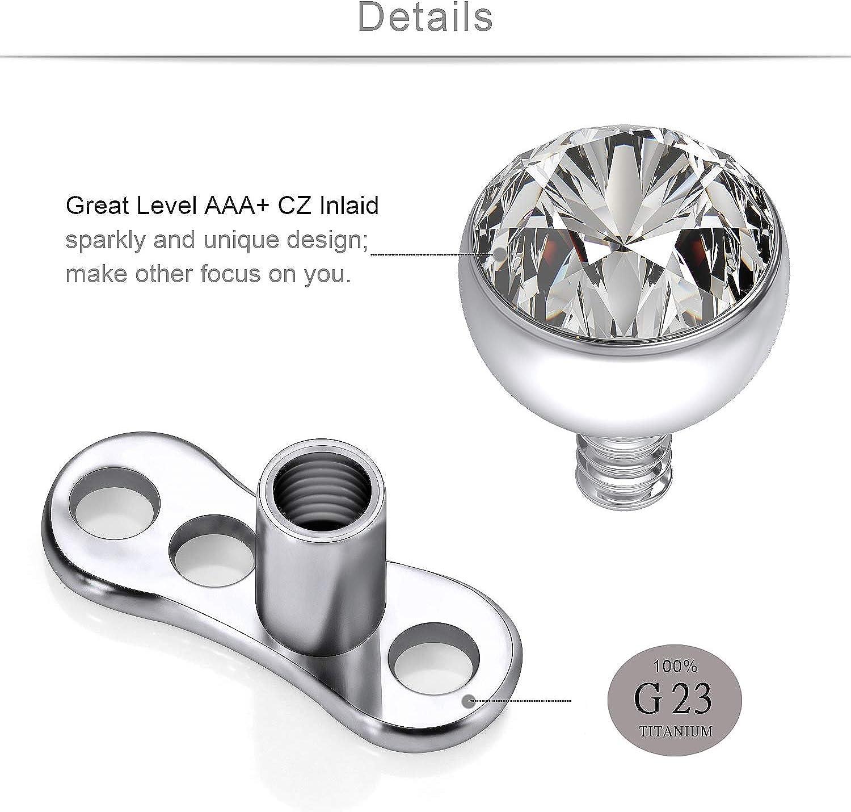 SCERRING 14G Dermal Piercing Jewelry Anchor Tops and Base Titanium Microdermals Piercing for Women Men Opal CZ Ball 2mm 3mm 4mm 15PCS