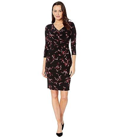 LAUREN Ralph Lauren Printed Matte Jersey-Dress (Black/Parlor Red/Multi) Women