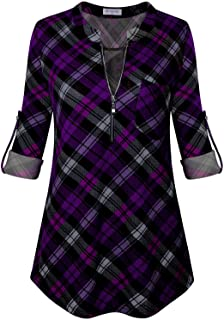 Bulotus Women's 3/4 Sleeve V-Neck Casual Plaid Tunic Shirt