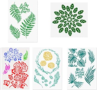 5 Packs Leaf Stencils/Monstera Palm Tropical Green Leaves/Floral Mandala Reusable Mylar Template - DIY Craft Stencils for Painting Templates for Painting, Arts, Card Making