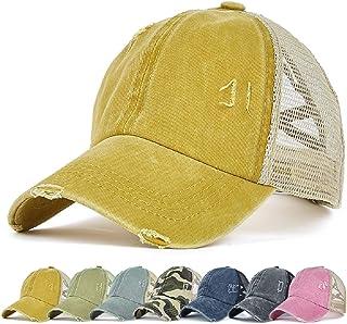 Enwokran Womens Ponytail Hat Baseball Cap, Adjustable Cross Baseball Cap High Bun Unisex Vintage Washed Trucker Hats