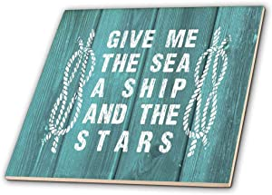 3dRose Sea, Ship and Stars Typography on Teal Background Photo-not Real Wood-Ceramic Tile, 12-inch (ct_220417_4), Multicolor