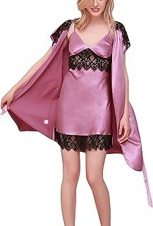 b56afe773b Dolamen Camicia da Notte Donna con Kimono Vestaglia Pigiama, 2-in-1 Seta