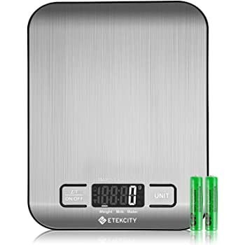 Etekcity Food Kitchen Scale, Digital Grams and Oz for Cooking, Baking, and Weight Loss, Christmas Gift for Holiday Meal Prep, Small-0.6 inch Height, 304 Stainless Steel