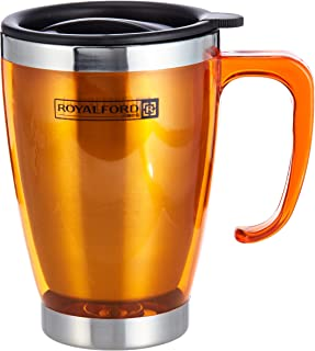 Royalford 14OZ Double Wall Travel Mug - Portable with Comfortable High Grip Handle, & High-Grade Stainless Steel Inner, Ho...