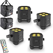 Chauvet DJ EZ Link Par Q4 BT Wireless Quad-Color RGBA LED Par with built-in Bluetooth - 4 pack with 2 Carry Bags and IRC6 Infrared Remote Control