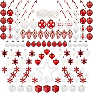 Best ITART 134ct Christmas Tree Ornaments Decorations Assortment Including Tree Topper Balls Candy Cane Snowflakes Stars Pine Cones Miniature Gift Boxes and Beads Garlands Finial (Red and White) Review