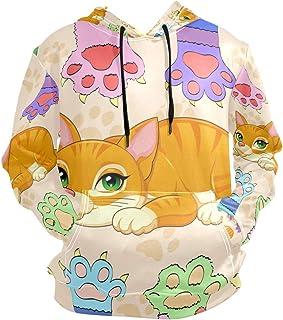 Cartoon Cat Kitty Hoodies 3D Print Athletic Hooded Sweatshirts for Men Girls Boys(Health Fabric)