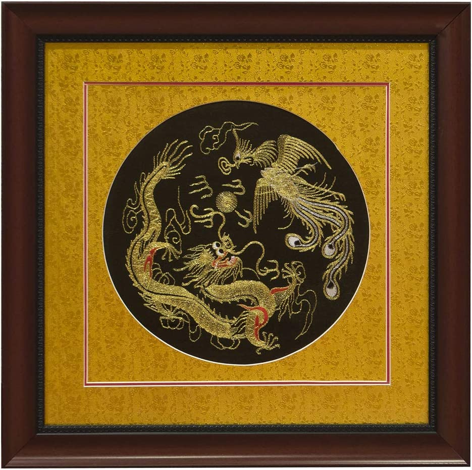 Chinese gold dragon embroidery wall art in wood frame akzo nobel sells organon