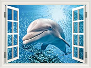 SUMGAR 3D Wallpaper Kids Bedroom Peel and Stick Window View Mural Wall Art Windowless Office Basement Blue Ocean Sceneery Pictures Dolphin Self Adhesive Decals Home Decorations,36x48 inch