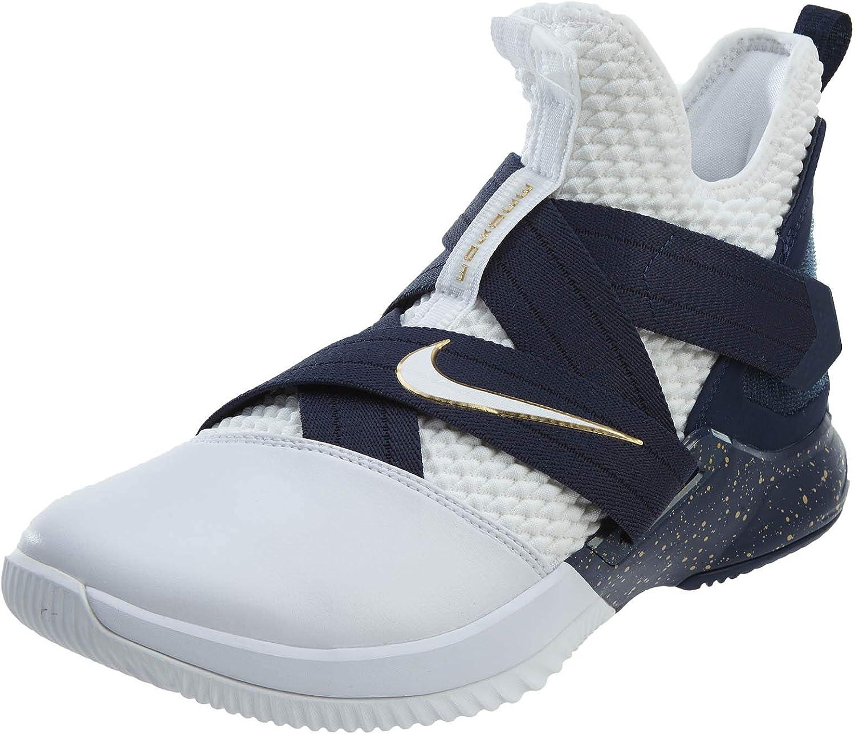 Nike Lebron Soldier XII SFG Mens Basketball-schuhe AO4054-100_13 - Weiß Weiß-Midnight Navy-Mineral Gelb