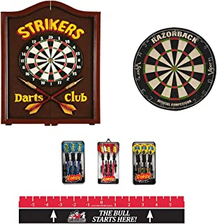 Game Room Guys Strikers Wooden Steel Tip Dart Board Cabinet Package