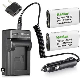 Kastar CRV3 Battery 2-Pack and Charger for Kodak CR-V3 EasyShare C310 C530 C875, Olympus LB-01 LB01 C3000 C3040 40Z C-2100UZ C-211 C-211Z C-3000 C-3030 C-3030Z C-3040Z C-4000 C-5050 C-5050Z C-700 D510