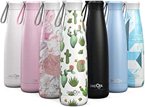 RiCool 17oz Thermos Water Bottle Double Vacuum Insulation Stainless Steel Water Bottle BPA Free Leak-Proof Cap Hanging Hoop Portable Sports Water Bottle for Hot Cold Drink Indoor Outdoor - Matte