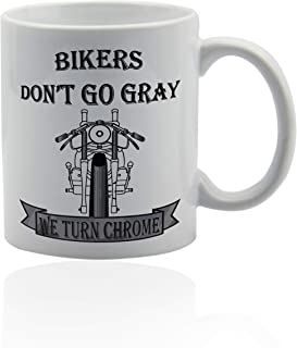Biker Coffee Mugs 11 oz. white ceramic cup. Gift ideas for bikers.