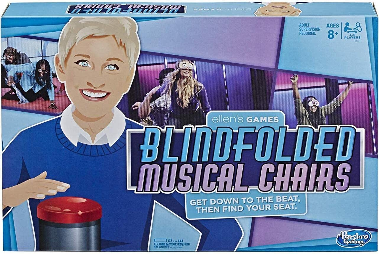 Hasbro Gaming Ellen's Games Blindfolded Musical Chairs Game, Ellen Degeneres Challenge for Ages 10 & Up