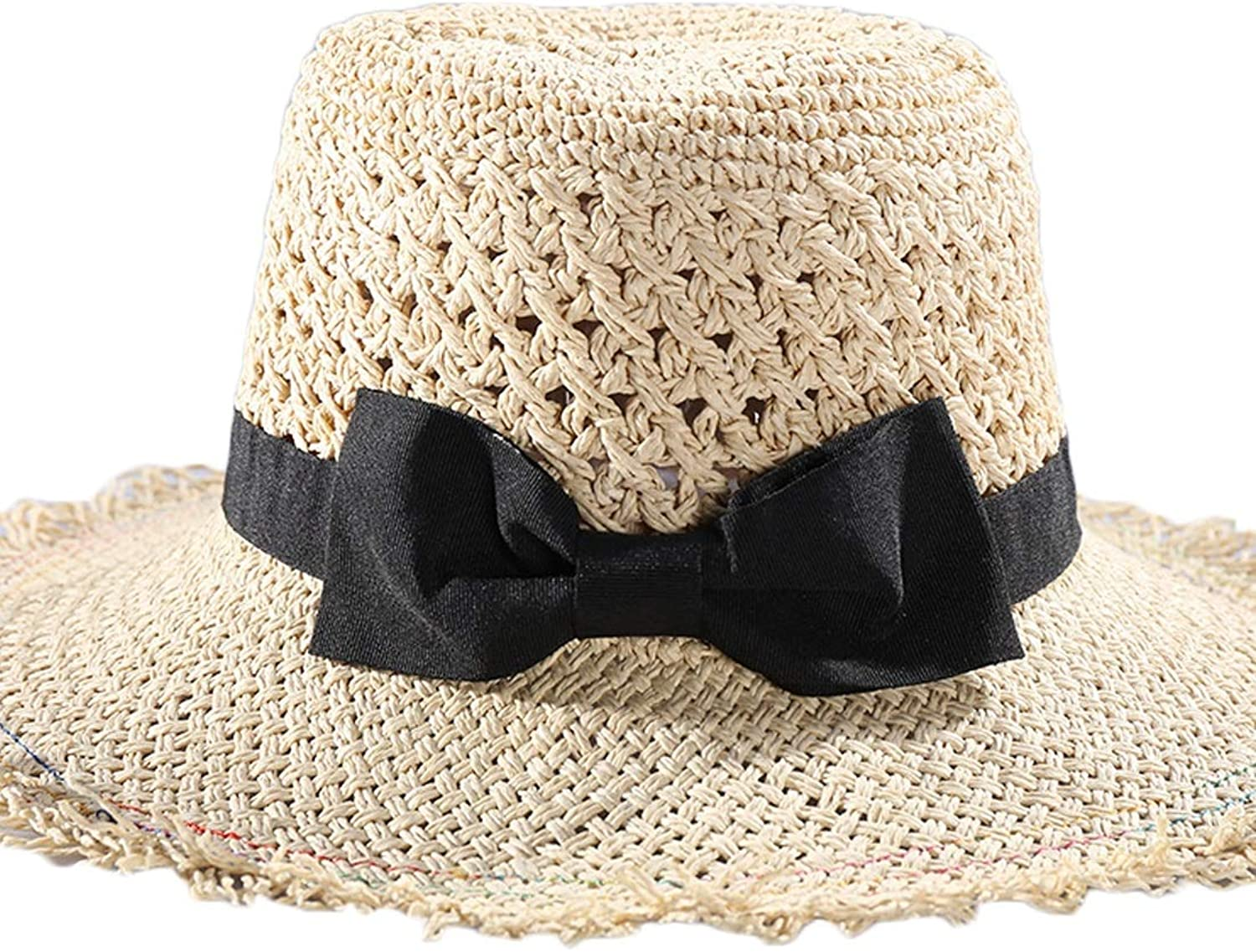 Carriemeow Spring and Summer Season Black Bowknot Hollow Straw Hat Flat Top Hat. Sunhat (color   A, Size   M)