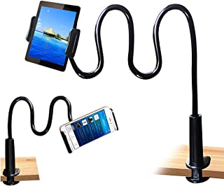 Tablet Stand Holder, Mount Holder Clip with Grip Flexible Long Arm Gooseneck Compatible with ipad iPhone/Nintendo Switch/S...