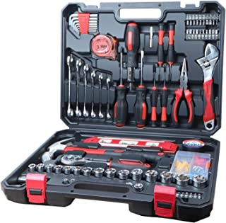 187-Piece Tool Set General Household Hand Tool Kit, Home Repair Tool Set with Hammer, Pliers, Sockets and Socket Wrench Se...