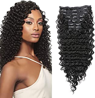 Clip in Hair Extensions Synthetic hair Clip in 140G 7Pcs/Lot Japanese Heat Resistant Fiber Hairpieces Deep Wave/Body Wave/Straight hair (Deep Wave, Natural Black 1B#)