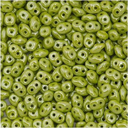 20gr SuperDuo Beads Turquoise Green White Luster 2 Holes Czech Glass Seed Beads 2.5x5mm