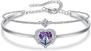 سوار قلب ملاك الجناح للسيدات من Flyonce ، مزين بكريستال سواروفسكي الحب القلب مجوهرات هدية