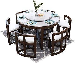 MKMKT Table à Manger, Table à Manger en marbre et Ensemble de chaises Ensemble de 9 pièces Table à Manger Ronde avec Meubl...