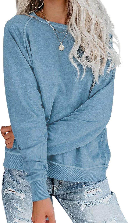LAMISSCHE Womens Crewneck Long Sleeve Sweatshirt Casual Solid Pullover Lightweight Tops