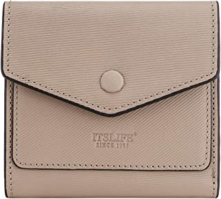 Women's Rfid Blocking Small Wallets Ladies Mini Bifold Pocket Purse (Stripe Apricot)