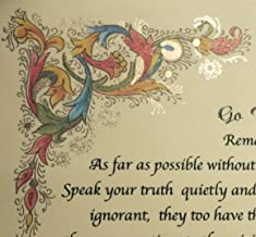 Desiderata Poem by Max Ehrmann on Handmade Florentine Paper (with 24k Gold Leaf Accent) Imported from Italy.