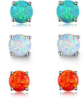 GEMSME Green White and File Opal 6mm Round Stud Earrings Pack of 3 PCS