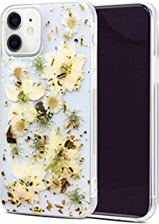 Abbery Designed for iPhone 12/12 Pro Flower Case, Clear Soft TPU Flexible Rubber Pressed Dried Real Flowers Case Compatibl...