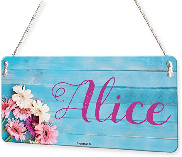Flowers On Wood Girls Personalised Childs Bedroom Door Sign Name Plaque
