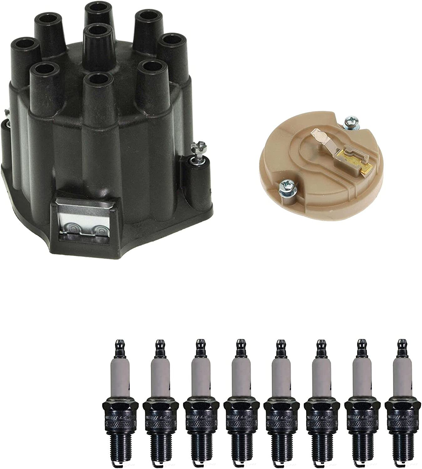 Distributor Rotor Cap  Spark Plugs Kit Compatible with Chevy Im